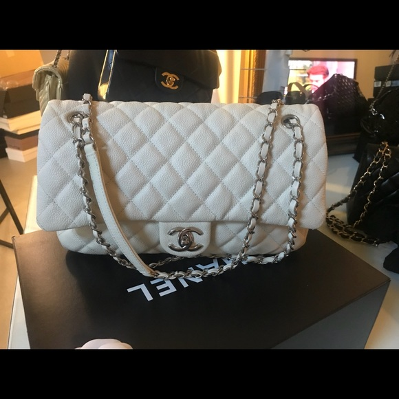 CHANEL Bags   Sold Ivory White Caviar Large Easy Flap   Poshmark cb8ce95449